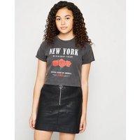 Girls Black Coated Leather-Look Zip Skirt New Look