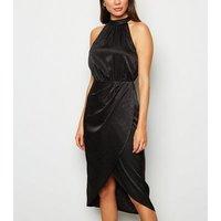 Black Satin Leopard Jacquard Midi Dress New Look