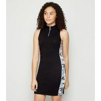 Girls Black Camo Tape Side Bodycon Dress New Look