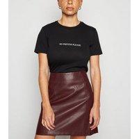 Petite Burgundy Leather-Look Mini Skirt New Look