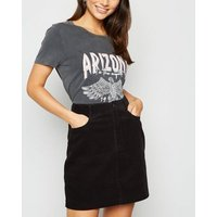Petite Black Corduroy Mini Skirt New Look