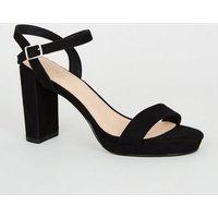 Black Suedette 2 Part Platform Sandals New Look Vegan
