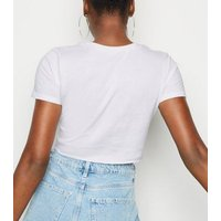 Cameo Rose White Ripped Crop Slogan T-Shirt New Look