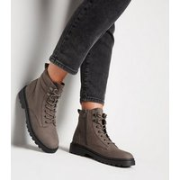 Grey Suedette Chunky Hiker Boots New Look
