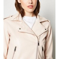 Pale Pink Leather-Look Belted Biker Jacket New Look