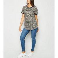 Maternity Black Floral Ringer T-Shirt New Look