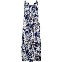 Mela Curves Blue Floral Maxi Dress New Look