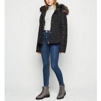 Blue Vanilla Black Faux Fur Trim Puffer Jacket New Look