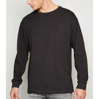 Men's Dark Grey Oversized Long Sleeve T-Shirt New Look