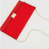 Red Leather-Look Suedette Clutch Bag New Look Vegan