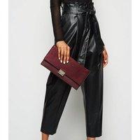 Burgundy Leather-Look Suedette Clutch Bag New Look Vegan