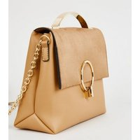 Camel Suedette Foldover Shoulder Bag New Look Vegan