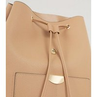 Camel Leather-Look Drawstring Backpack New Look