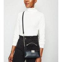 Black Leather-Look Studded Mini Shoulder Bag New Look Vegan