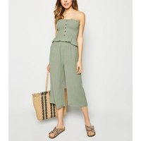 Olive Shirred Culottes New Look