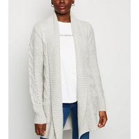 Tall Pale Grey Cable Knit Longline Cardigan New Look