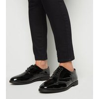 Wide Fit Black Patent Lace Up Brogues New Look Vegan