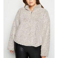 Curves Grey Faux Teddy Fur Zip Sweatshirt New Look