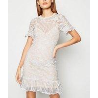 Parisian White Crochet Frill Trim Mini Dress New Look