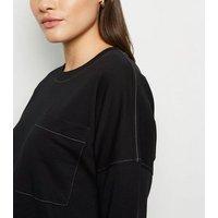 Noisy May Black Contrast Stitch Sweatshirt Dress New Look
