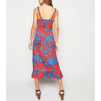 Influence Red Floral Tie Waist Midi Dress New Look