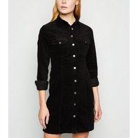 Black Cord Button Up Mini Shirt Dress New Look