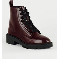 Girls Dark Red Leather-Look Lace Up Boots New Look Vegan