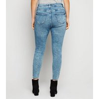 Petite Blue Acid Wash Ripped Super Skinny Jeans New Look