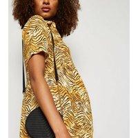 Maternity Brown Tiger Print Shirt Smock Dress New Look