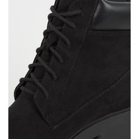 Girls Black Lace Up Chunky Sole Boots New Look