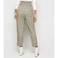 Petite Brown Check Belted Trousers New Look