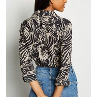 Petite Black Chiffon Zebra Print Shirt New Look