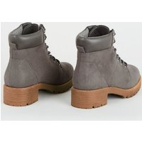 Girls Grey Suedette Lace Up Boots New Look Vegan