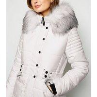 Blue Vanilla White Faux Fur Hood Puffer Jacket New Look