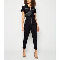 Tall Black Zip Denim Boiler Suit New Look