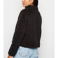 Petite Black Faux Fur 1/2 Zip Hoodie New Look