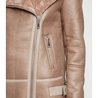 Tall Mink Leather-Look Aviator Jacket New Look