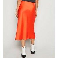 Bright Orange Satin Bias Cut Midi Skirt New Look