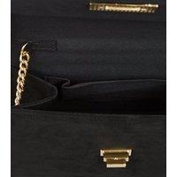 Black Suedette Top Handle Shoulder Bag New Look