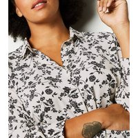 Curves White Floral Long Sleeve Shirt New Look