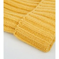 Yellow Ribbed Foldover Beanie Hat New Look