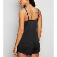Black Lace Trim Cami and Shorts Pyjama Set New Look