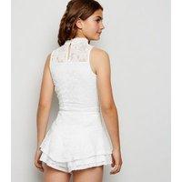 Girls White Lace Ruffle Skort New Look