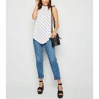 White Spot Crinkle Halterneck Top New Look