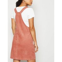 Petite Pink Corduroy Pinafore Dress New Look