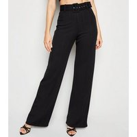 Black Ribbed Belted Wide Leg Trousers New Look
