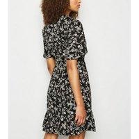 Tall Black Ditsy Floral Mini Wrap Dress New Look