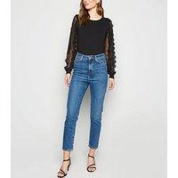 Black Lace Sheer Sleeve Jumper New Look