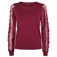 Burgundy Lace Sheer Sleeve Jumper New Look