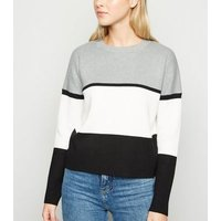 Grey Colour Block Jumper New Look